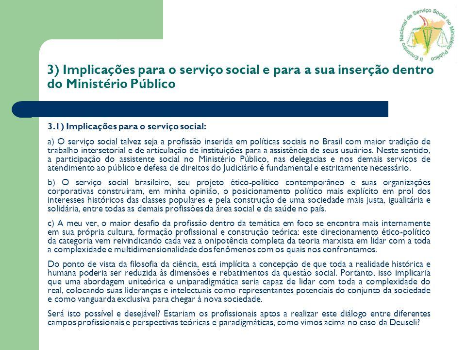 3) Implicações para o serviço social e para a sua inserção dentro do Ministério Público