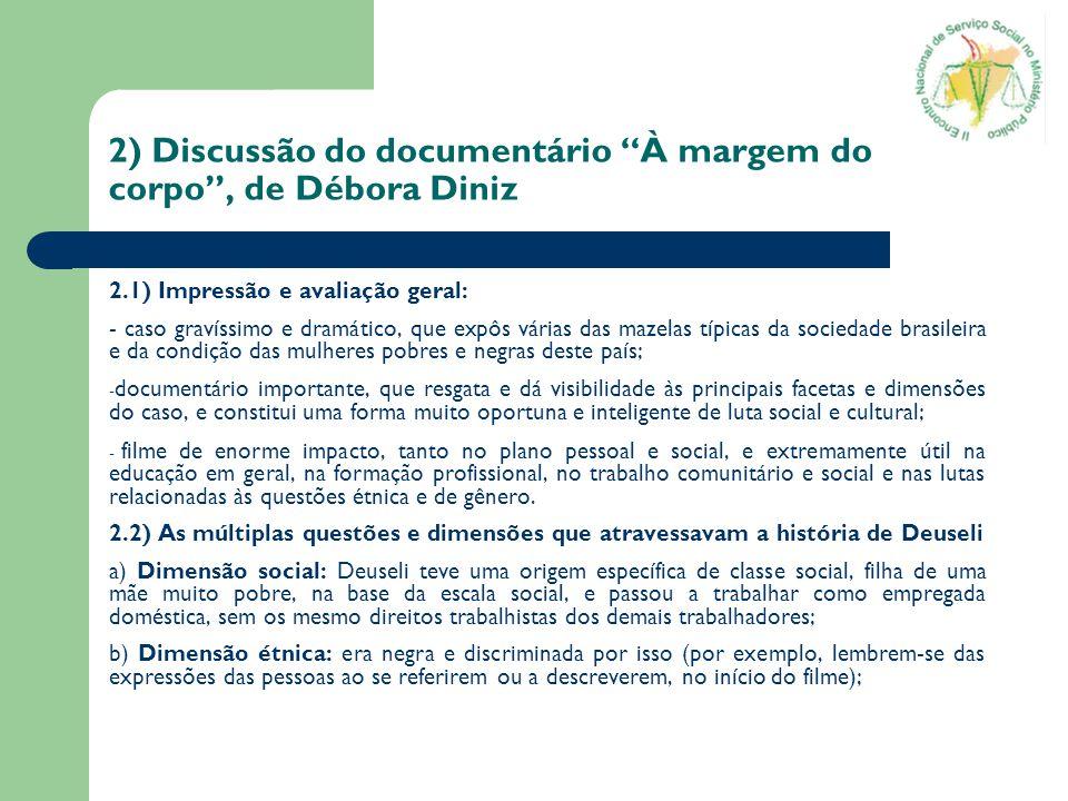 2) Discussão do documentário À margem do corpo , de Débora Diniz