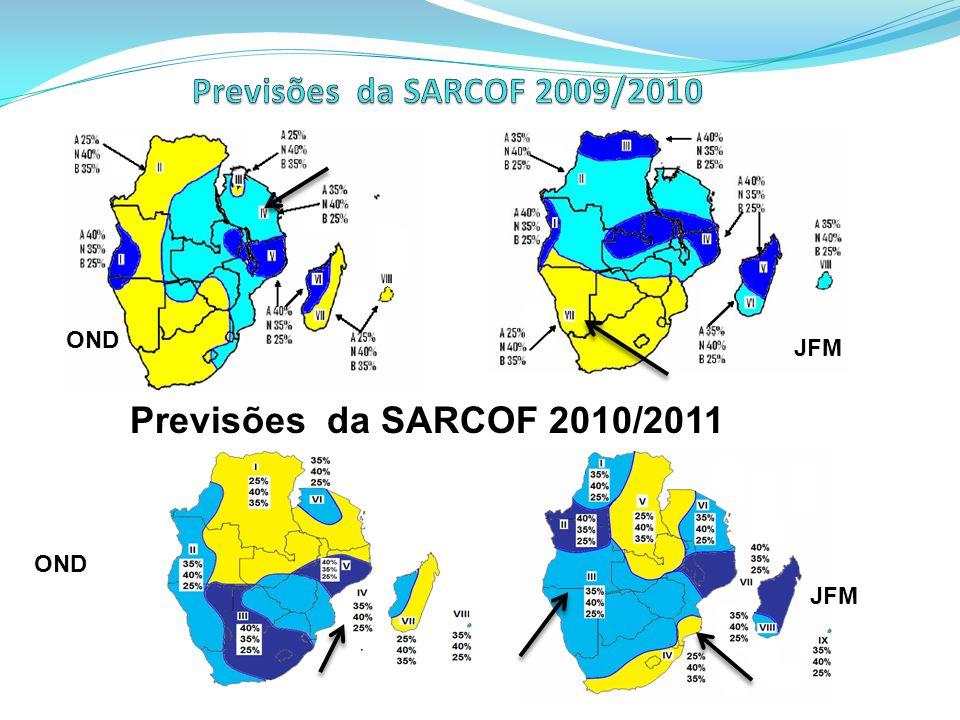 Previsões da SARCOF 2009/2010 Previsões da SARCOF 2010/2011 OND JFM