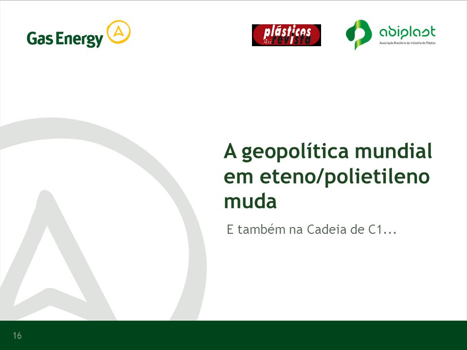 A geopolítica mundial em eteno/polietileno muda