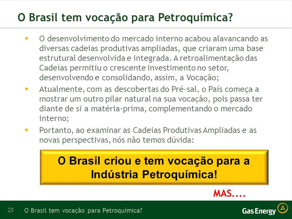 O Brasil tem vocação para Petroquímica