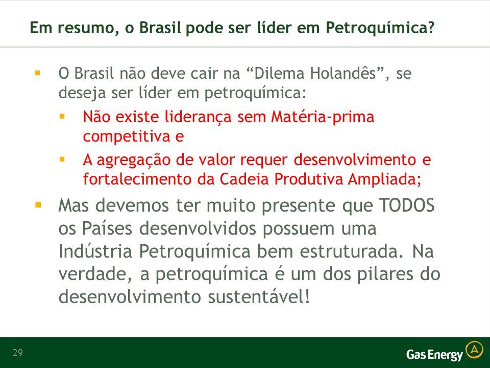 Em resumo, o Brasil pode ser líder em Petroquímica