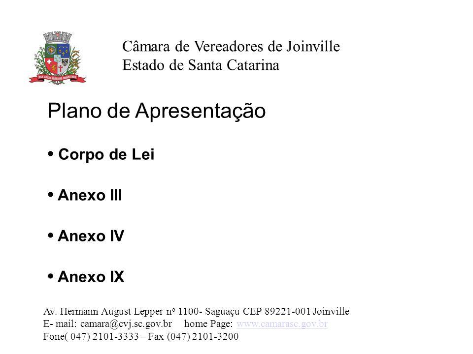 Plano de Apresentação • Corpo de Lei • Anexo III • Anexo IV • Anexo IX