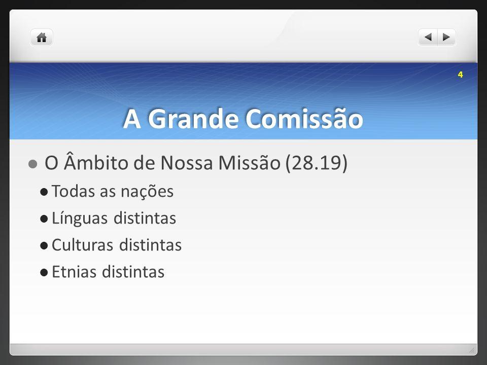 A Grande Comissão O Âmbito de Nossa Missão (28.19) Todas as nações