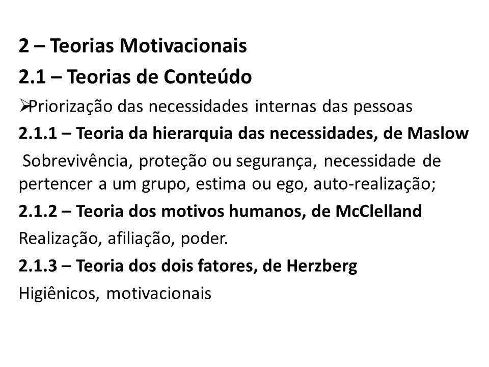 2 – Teorias Motivacionais 2.1 – Teorias de Conteúdo