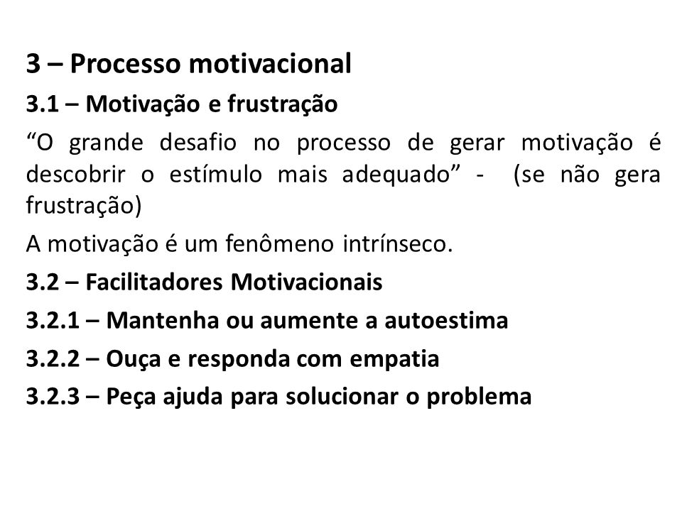 3 – Processo motivacional