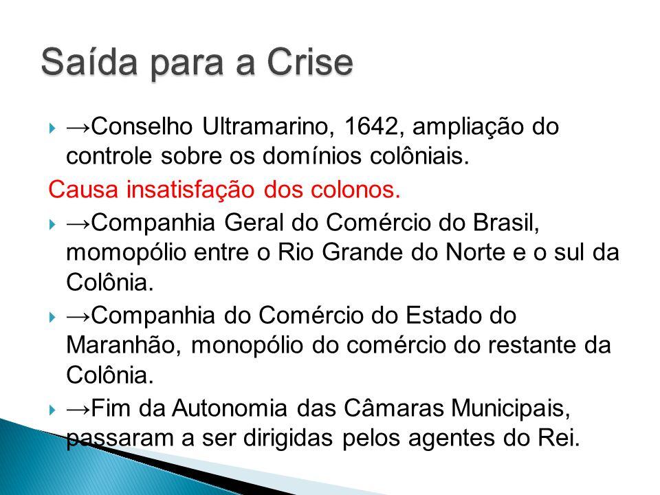 Saída para a Crise →Conselho Ultramarino, 1642, ampliação do controle sobre os domínios colôniais.