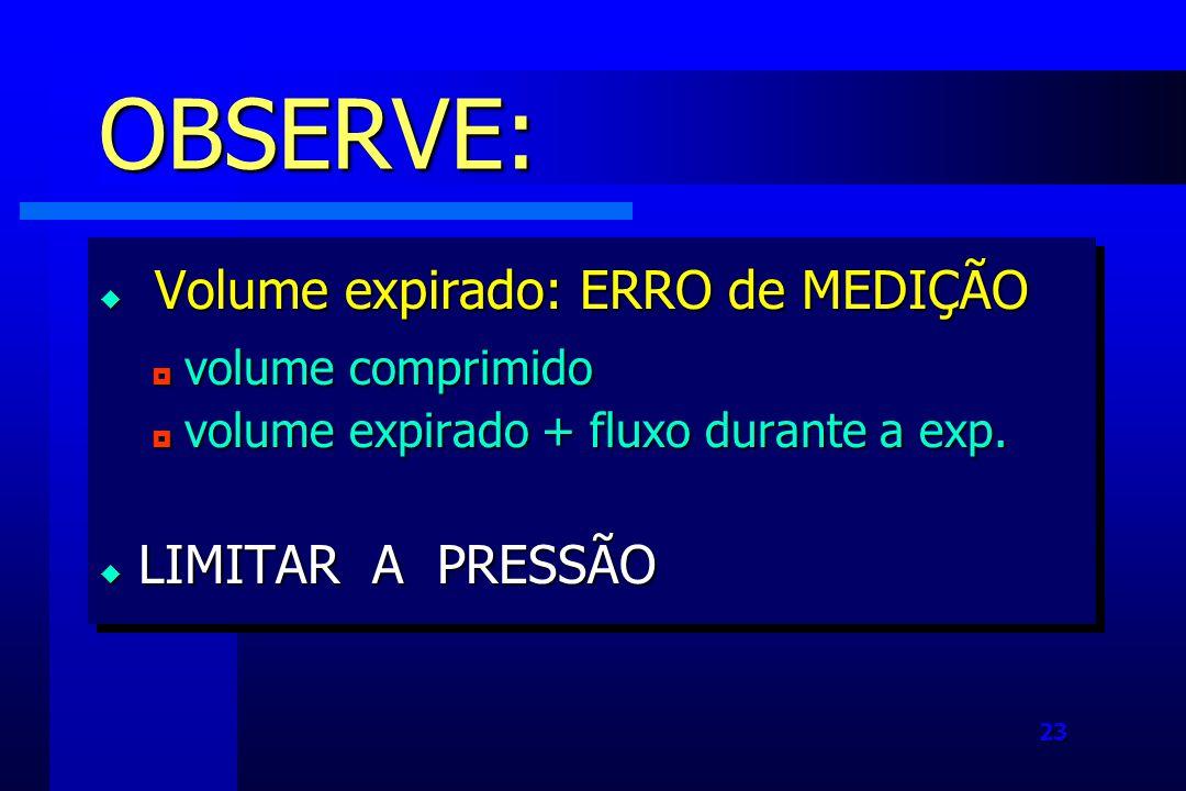OBSERVE: Volume expirado: ERRO de MEDIÇÃO LIMITAR A PRESSÃO