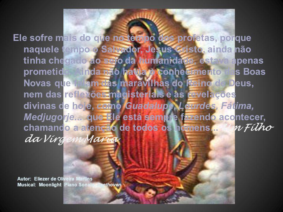 Ele sofre mais do que no tempo dos profetas, porque naquele tempo o Salvador, Jesus Cristo, ainda não tinha chegado ao seio da humanidade, estava apenas prometido. Ainda não havia o conhecimento das Boas Novas que falam das maravilhas do Reino de Deus, nem das reflexões magisteriais e as revelações divinas de hoje, como Guadalupe, Lourdes, Fátima, Medjugorje... que Ele está sempre fazendo acontecer, chamando a atenção de todos os homens... Um Filho da Virgem Maria