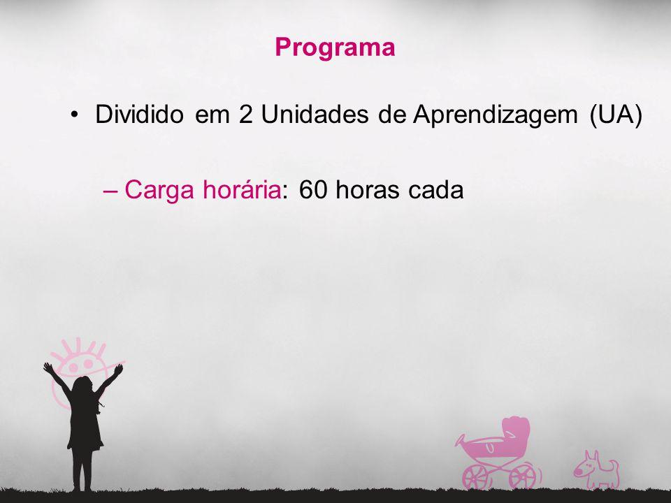 Programa Dividido em 2 Unidades de Aprendizagem (UA) Carga horária: 60 horas cada