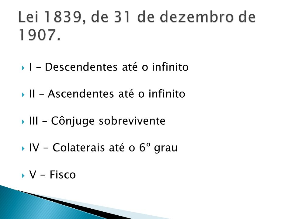 Lei 1839, de 31 de dezembro de 1907. I – Descendentes até o infinito