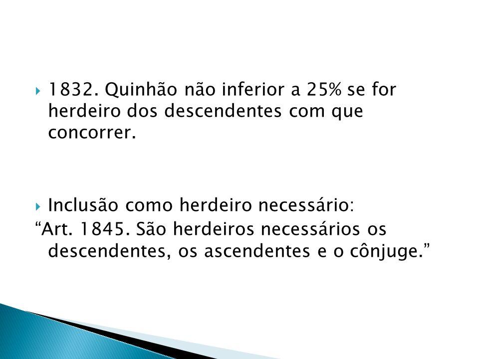 1832. Quinhão não inferior a 25% se for herdeiro dos descendentes com que concorrer.
