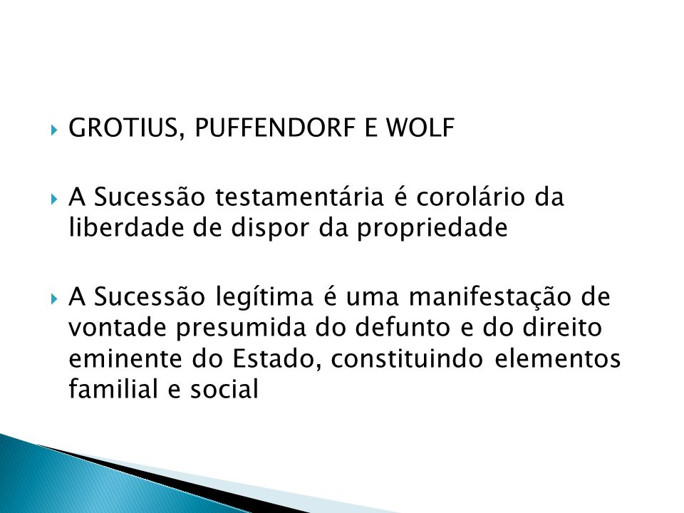 GROTIUS, PUFFENDORF E WOLF