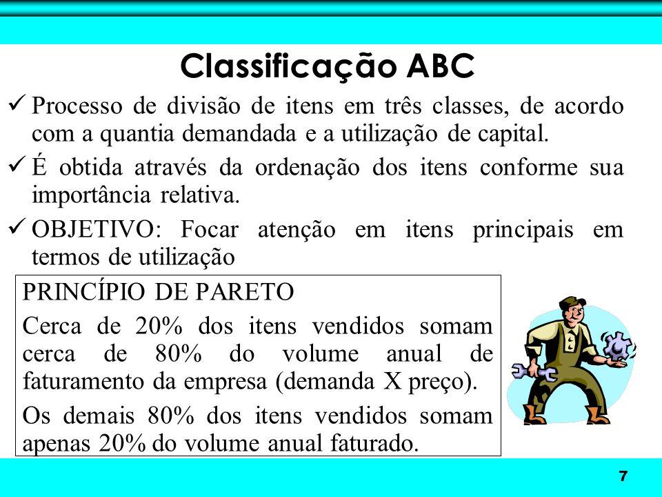 Classificação ABC Processo de divisão de itens em três classes, de acordo com a quantia demandada e a utilização de capital.