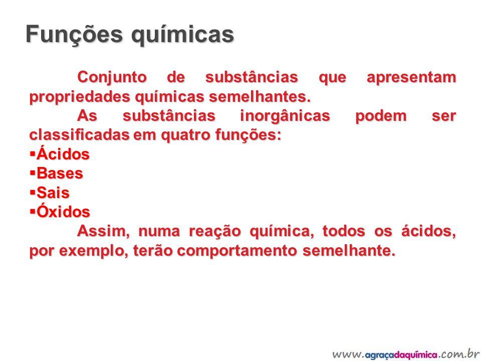Funções químicas Conjunto de substâncias que apresentam propriedades químicas semelhantes.