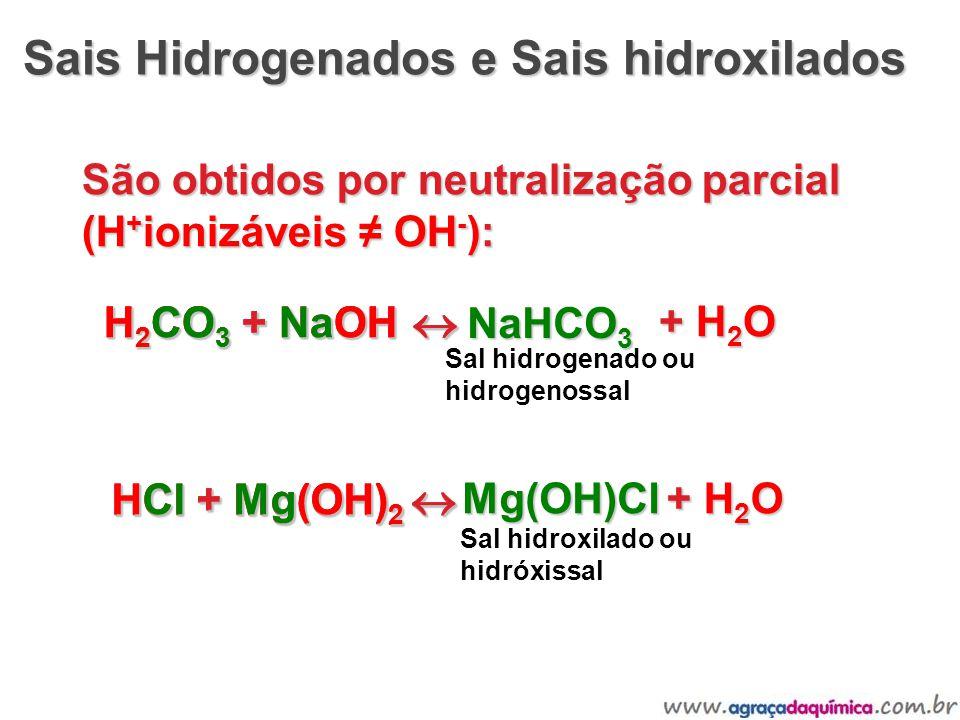 Sais Hidrogenados e Sais hidroxilados