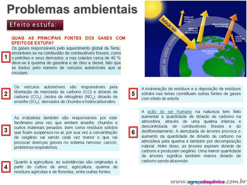 Problemas ambientais Efeito estufa: 1 2 5 3 6 4