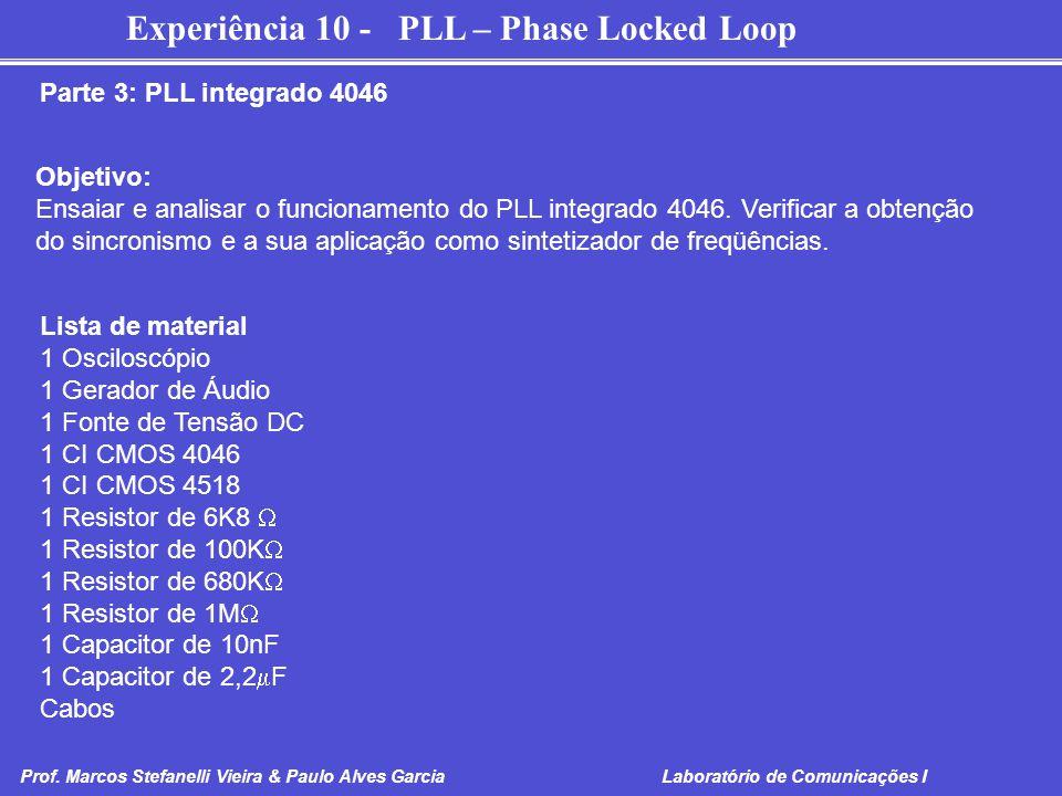 Parte 3: PLL integrado 4046 Objetivo: Ensaiar e analisar o funcionamento do PLL integrado 4046. Verificar a obtenção.