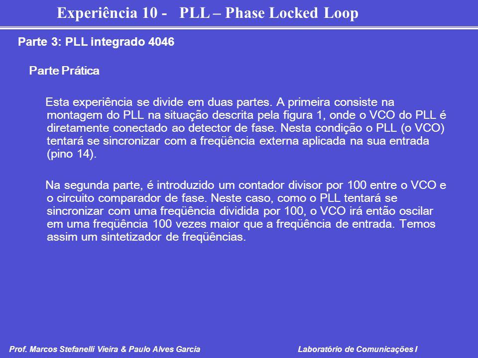 Parte 3: PLL integrado 4046 Parte Prática.