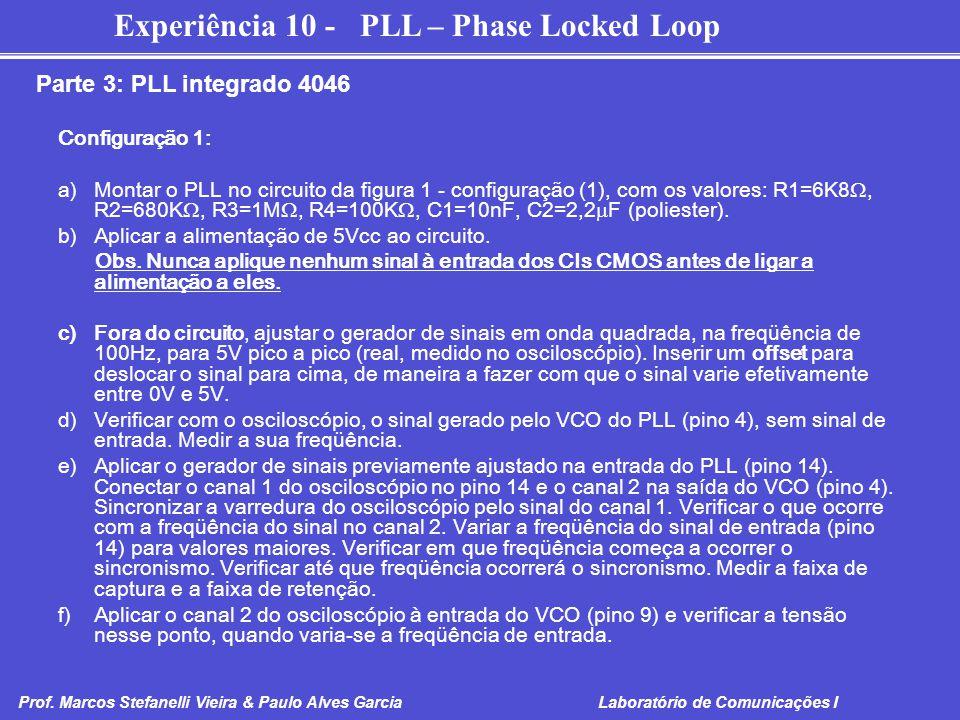 Parte 3: PLL integrado 4046 Configuração 1: