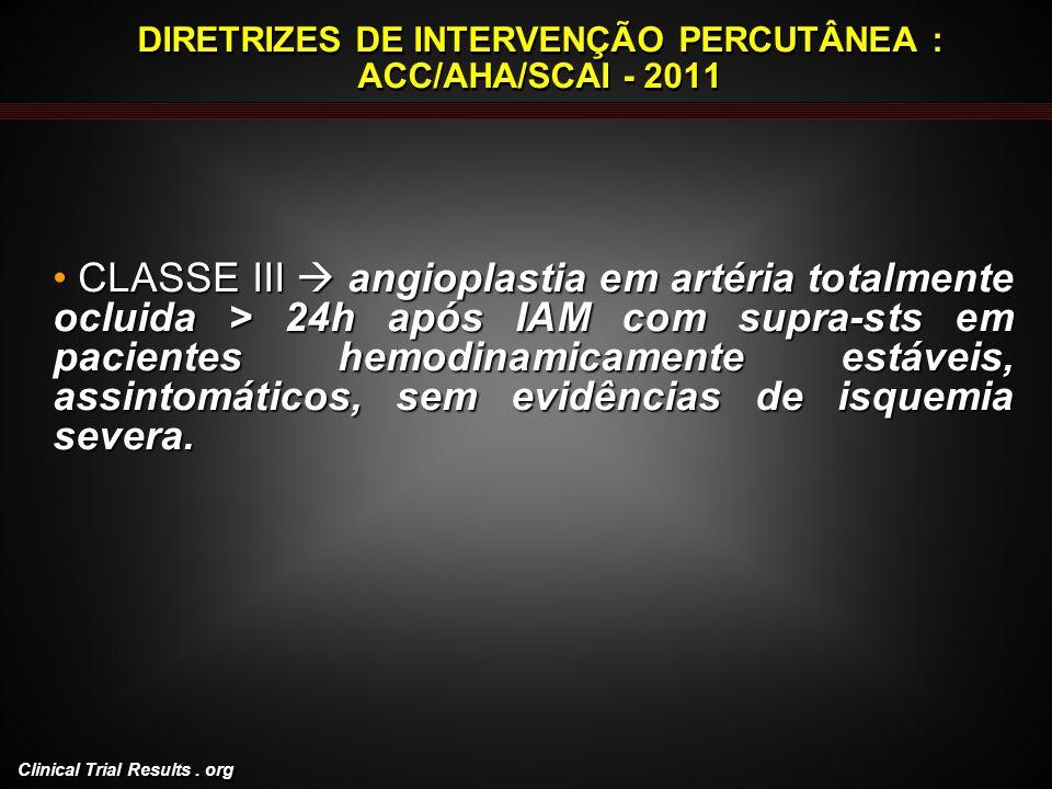 DIRETRIZES DE INTERVENÇÃO PERCUTÂNEA : ACC/AHA/SCAI - 2011