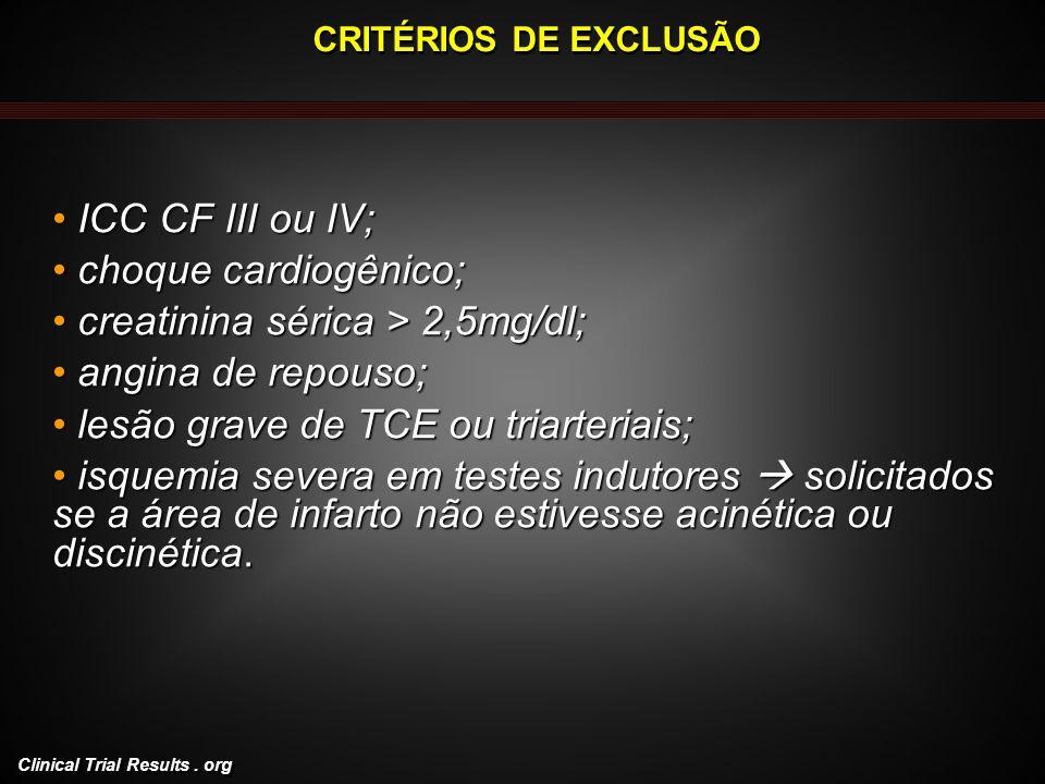 creatinina sérica > 2,5mg/dl; angina de repouso;