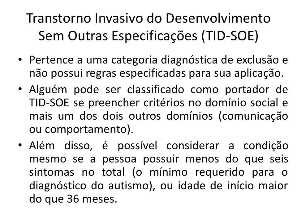Transtorno Invasivo do Desenvolvimento Sem Outras Especificações (TID-SOE)