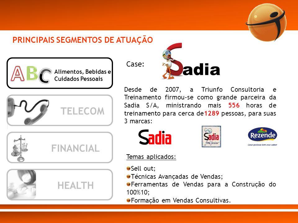 A B C adia TELECOM FINANCIAL HEALTH PRINCIPAIS SEGMENTOS DE ATUAÇÃO