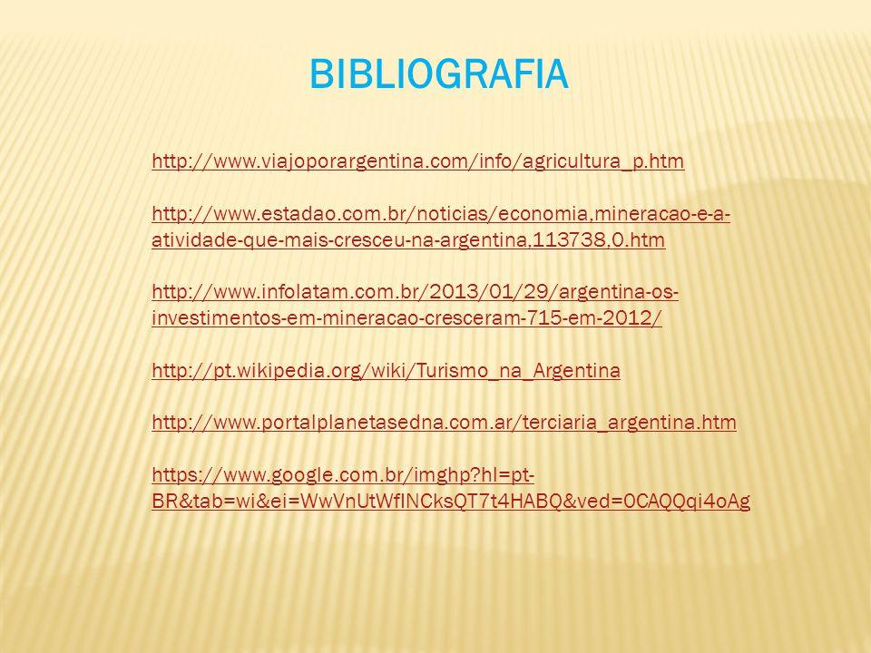 BIBLIOGRAFIA http://www.viajoporargentina.com/info/agricultura_p.htm