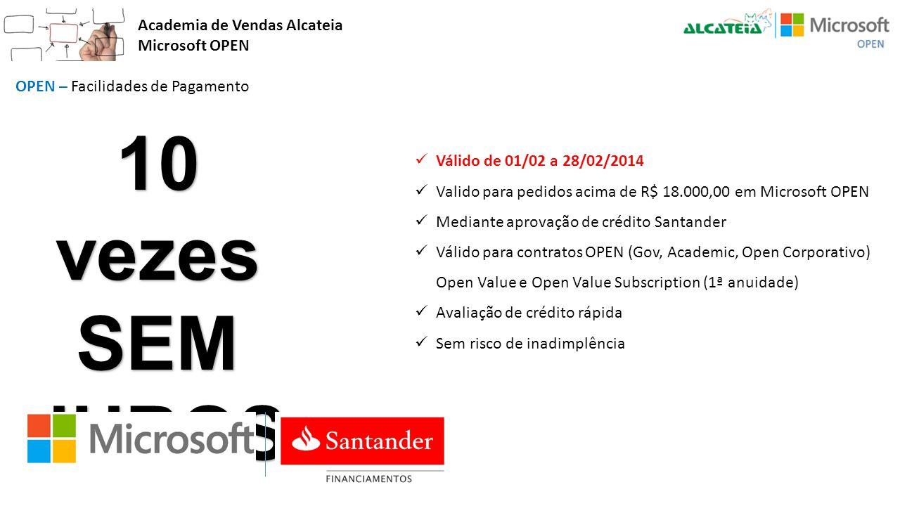 10 vezes SEM JUROS Academia de Vendas Alcateia Microsoft OPEN