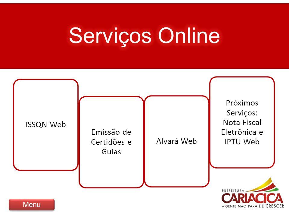 Serviços Online ISSQN Web Emissão de Certidões e Guias Alvará Web