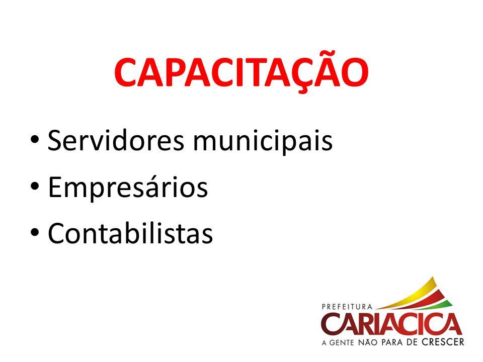 CAPACITAÇÃO Servidores municipais Empresários Contabilistas