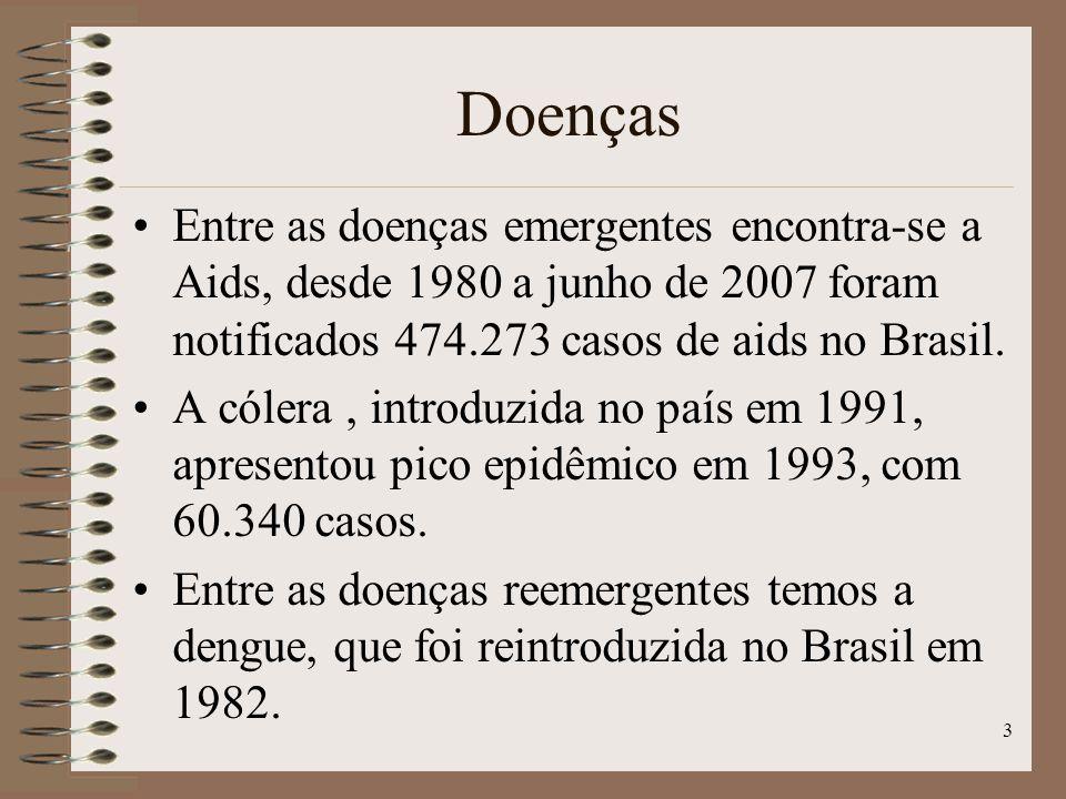 Doenças Entre as doenças emergentes encontra-se a Aids, desde 1980 a junho de 2007 foram notificados 474.273 casos de aids no Brasil.