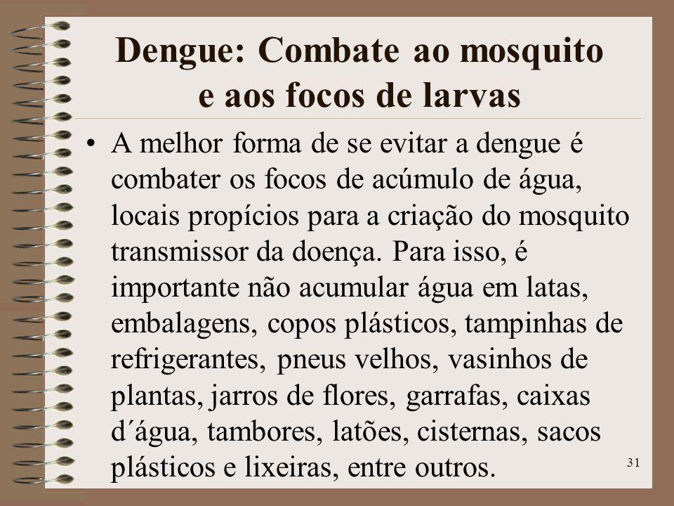 Dengue: Combate ao mosquito e aos focos de larvas