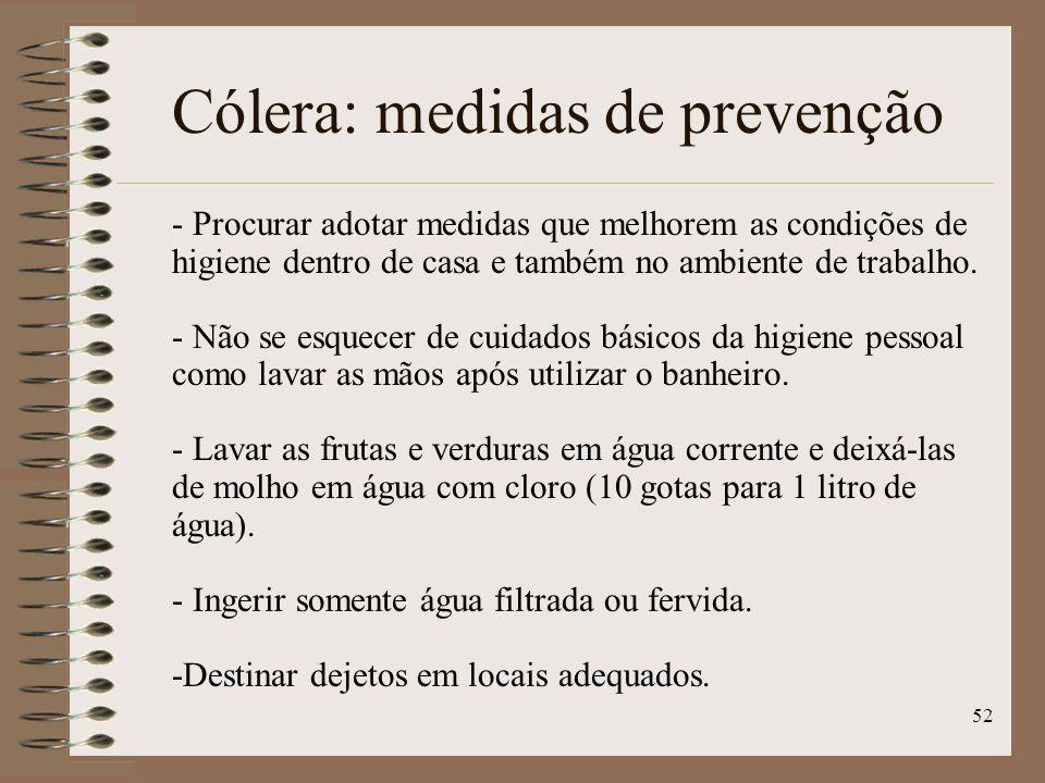 Cólera: medidas de prevenção
