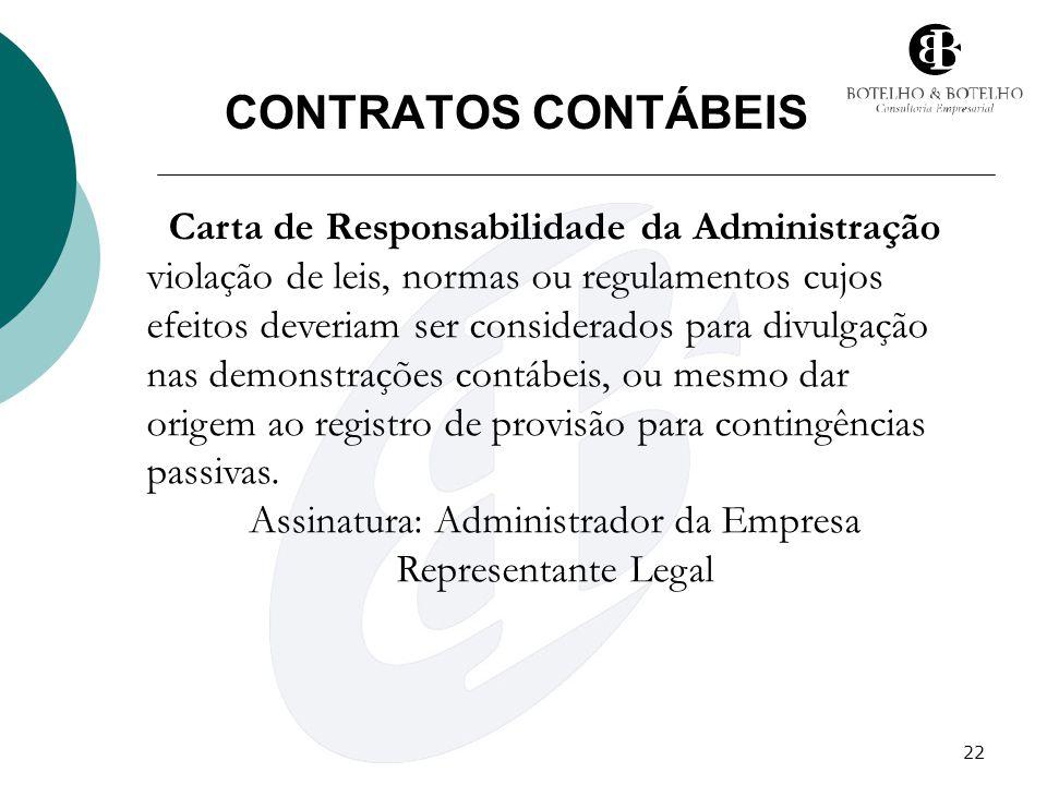 CONTRATOS CONTÁBEIS Carta de Responsabilidade da Administração