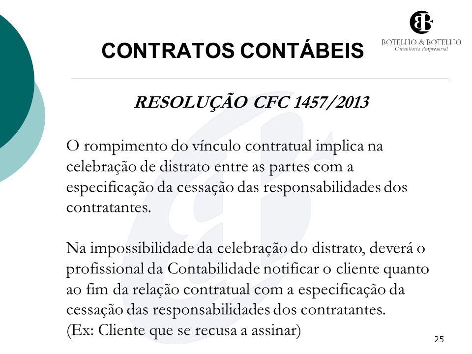 CONTRATOS CONTÁBEIS RESOLUÇÃO CFC 1457/2013