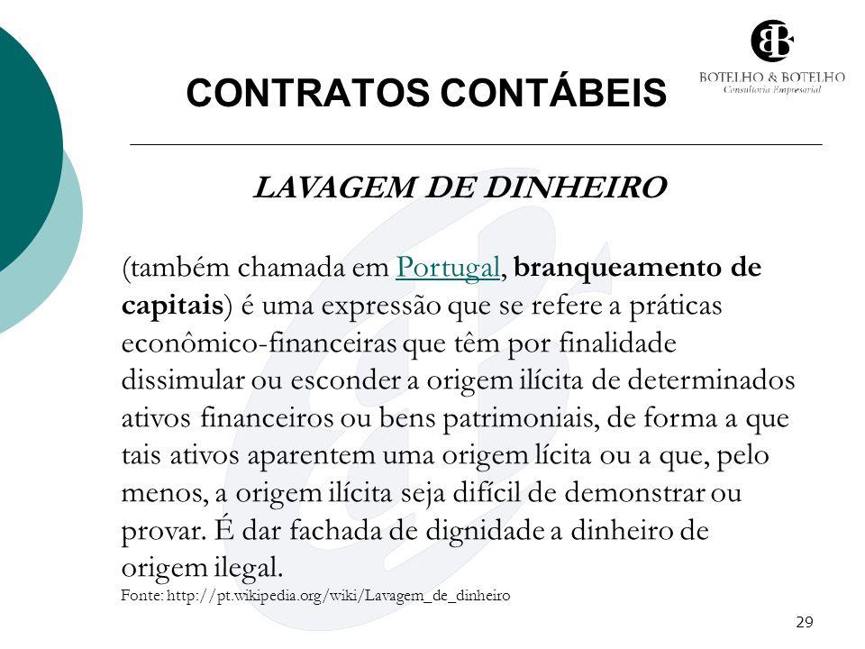 CONTRATOS CONTÁBEIS LAVAGEM DE DINHEIRO