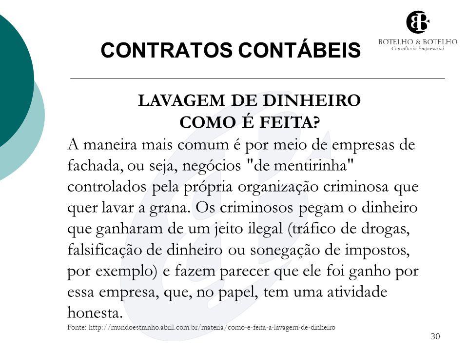 CONTRATOS CONTÁBEIS LAVAGEM DE DINHEIRO COMO É FEITA
