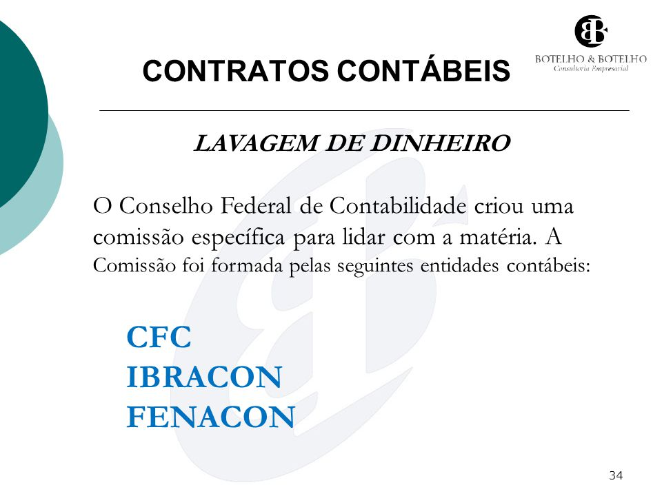 CFC IBRACON FENACON CONTRATOS CONTÁBEIS LAVAGEM DE DINHEIRO