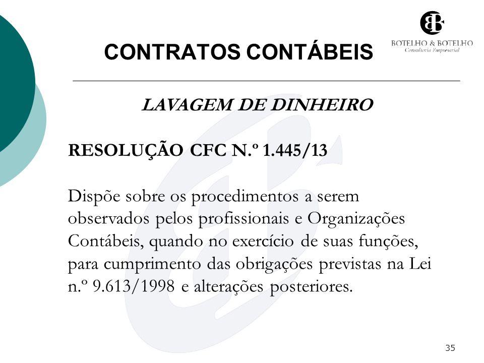 CONTRATOS CONTÁBEIS LAVAGEM DE DINHEIRO RESOLUÇÃO CFC N.º 1.445/13