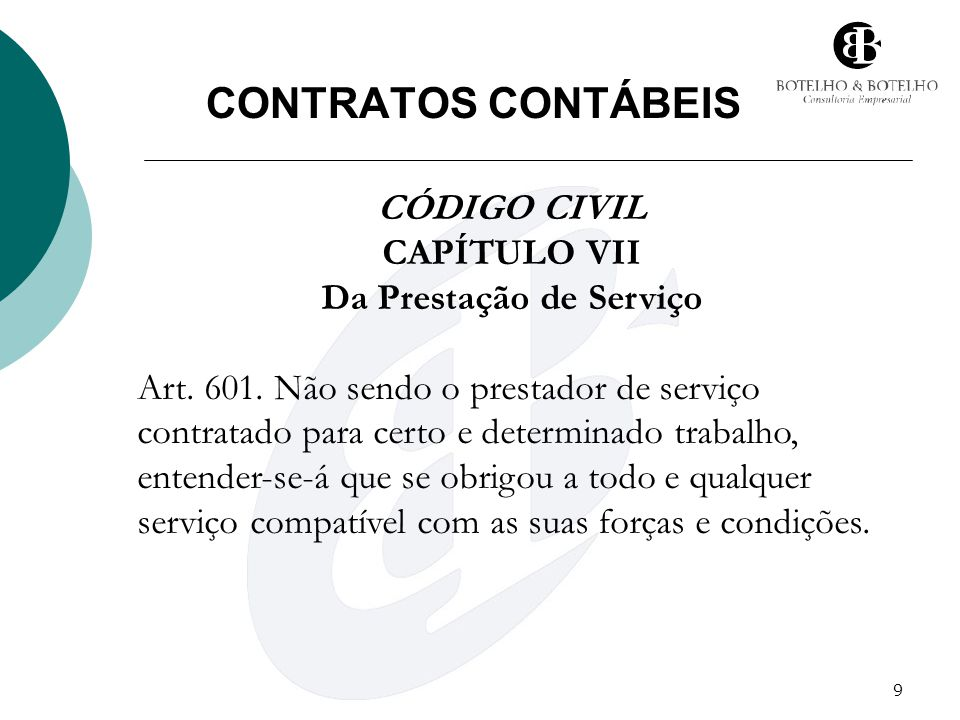 CAPÍTULO VII Da Prestação de Serviço