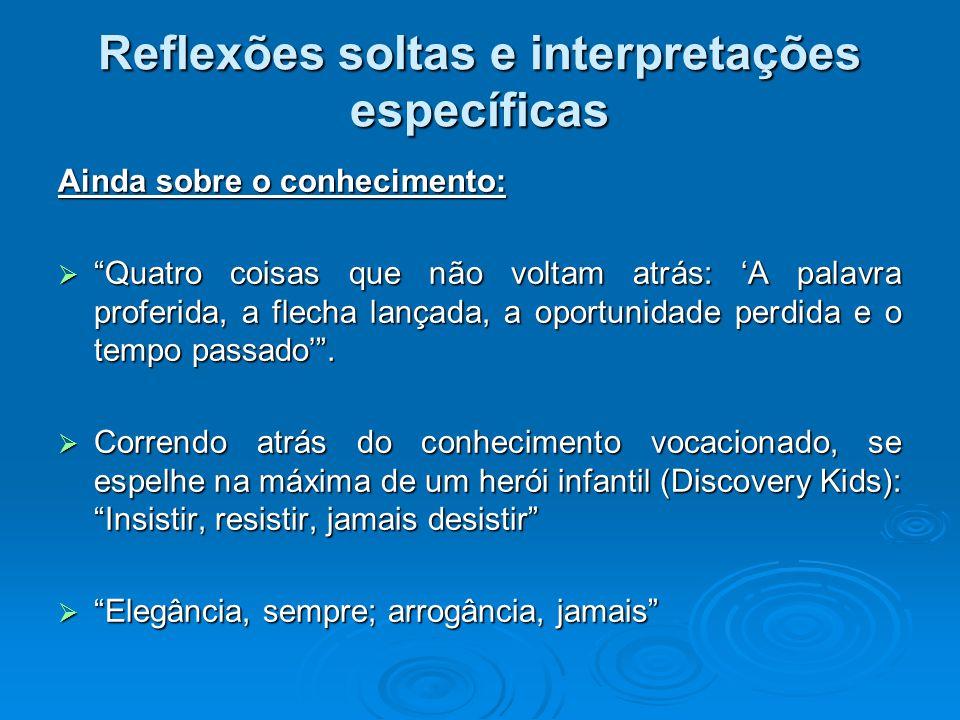 Reflexões soltas e interpretações específicas