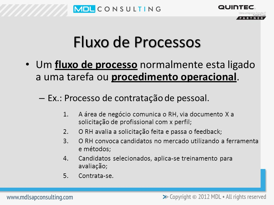 Fluxo de Processos Um fluxo de processo normalmente esta ligado a uma tarefa ou procedimento operacional.