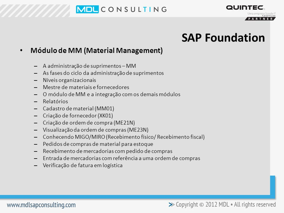 SAP Foundation Módulo de MM (Material Management)