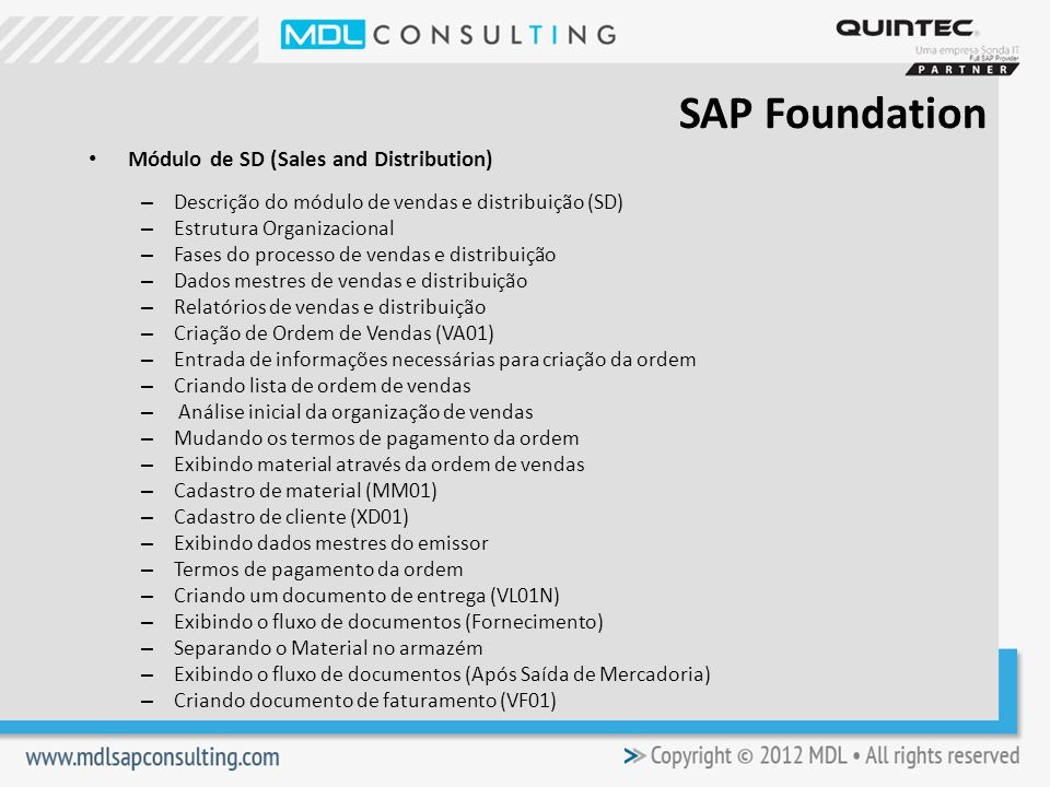 SAP Foundation Módulo de SD (Sales and Distribution)