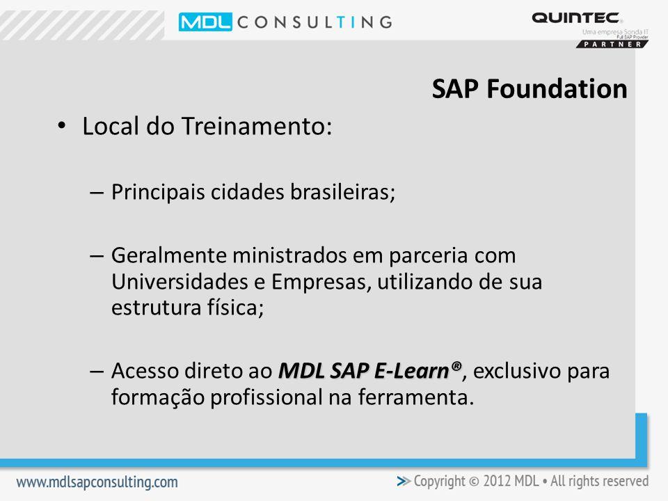 SAP Foundation Local do Treinamento: Principais cidades brasileiras;