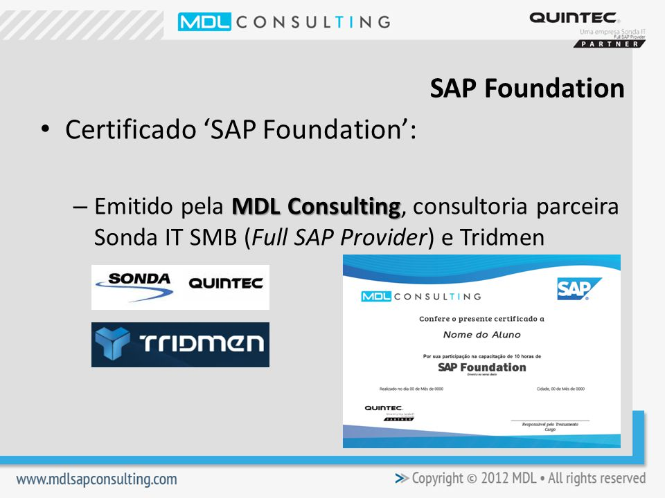 Certificado 'SAP Foundation':