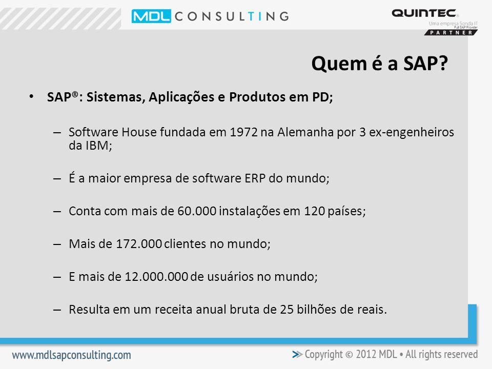 Quem é a SAP SAP®: Sistemas, Aplicações e Produtos em PD;