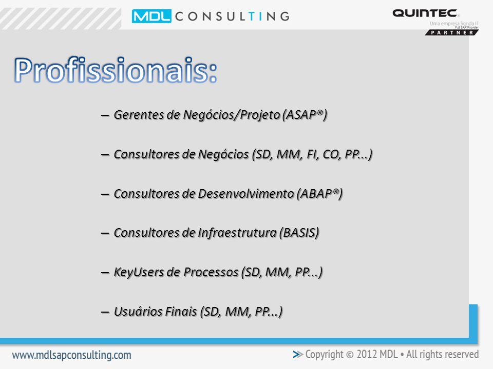 Profissionais: Gerentes de Negócios/Projeto (ASAP®)